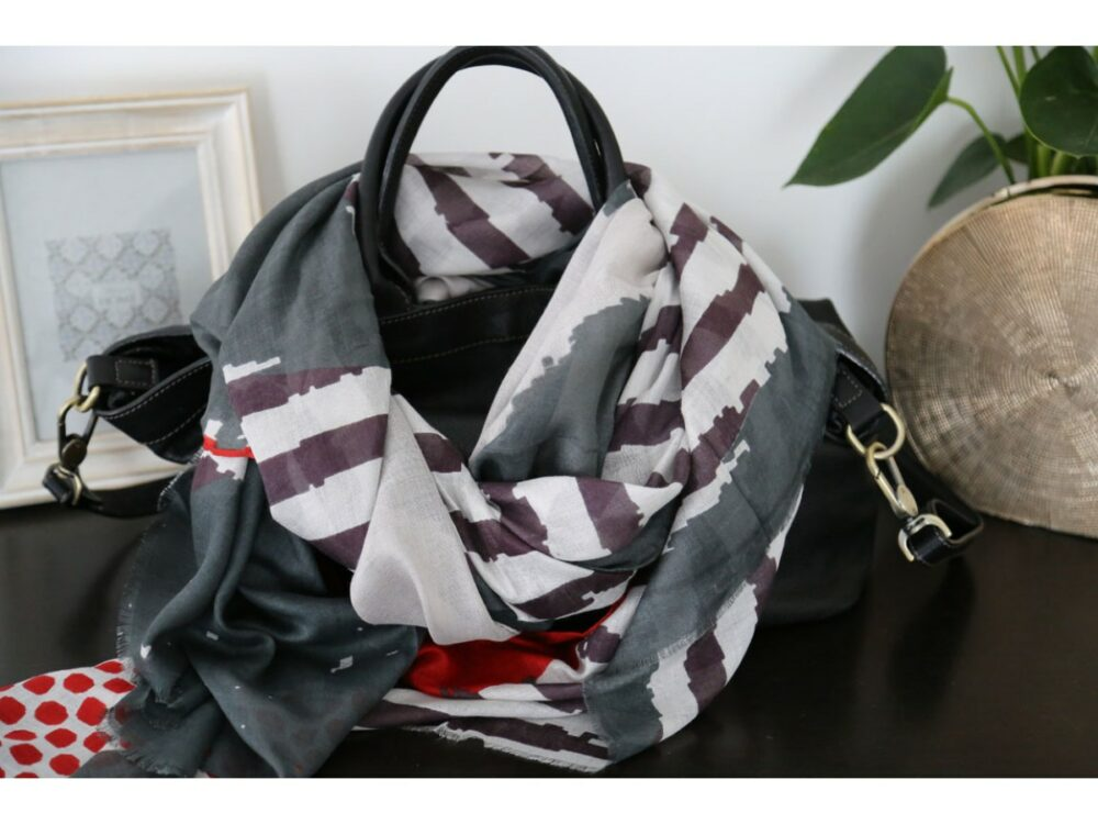 Foulard coton femme gris rose