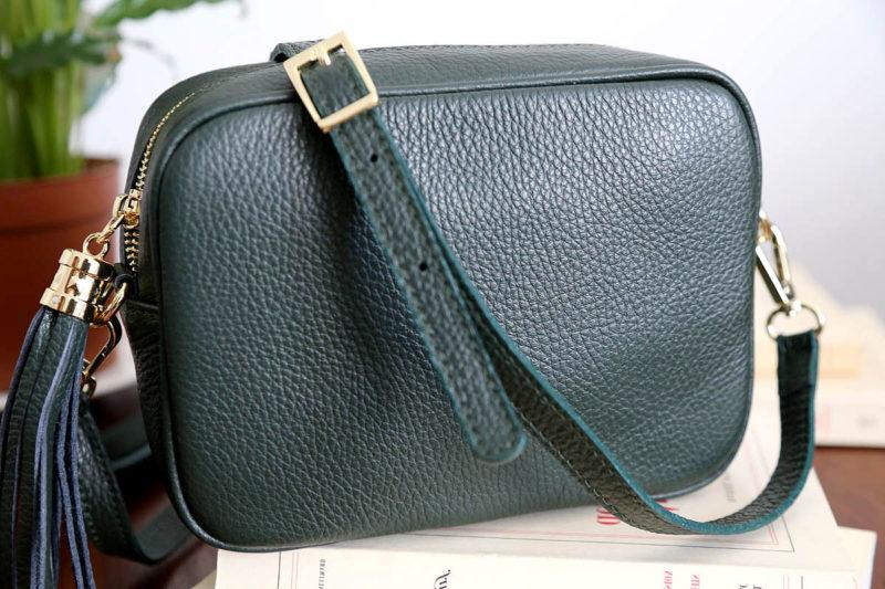 petit sac cuir vert bouteille avec bandouliere ALY