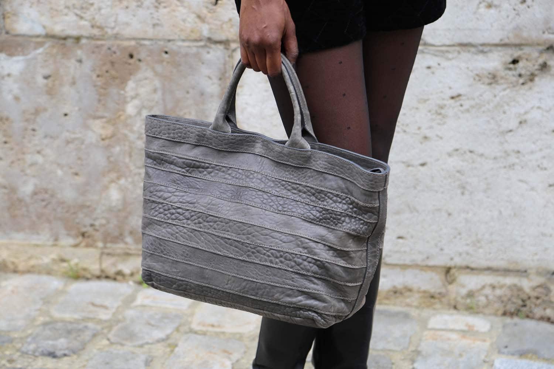 sac cabas cuir bubble gris