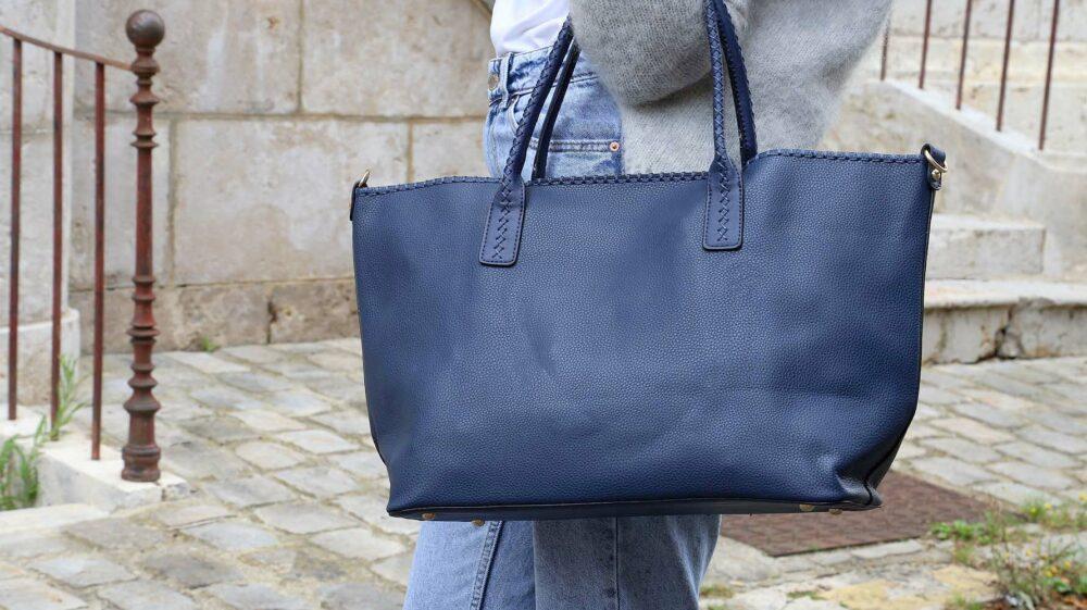 sac cabas femme bleu simili cuir