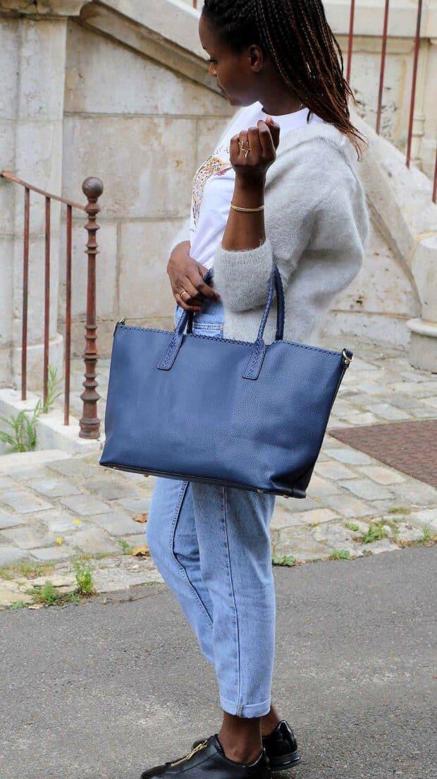 sac cabas bleu simili cuir