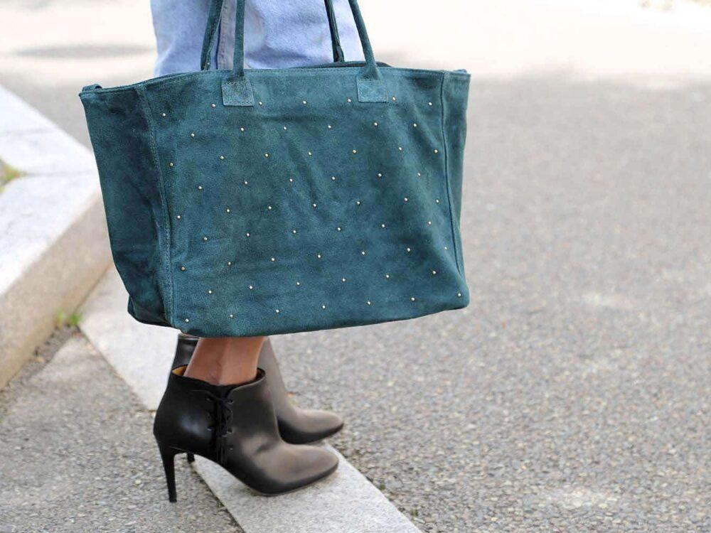 cabas femme cuir vert. Grand format