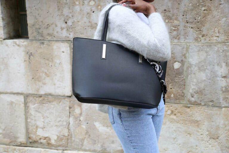 grand sac cabas noir finition safiano. Modele JESSANE