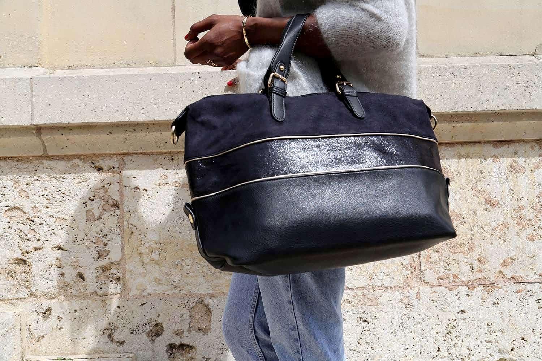 sac cabas femme noir cuir simili WITNEY