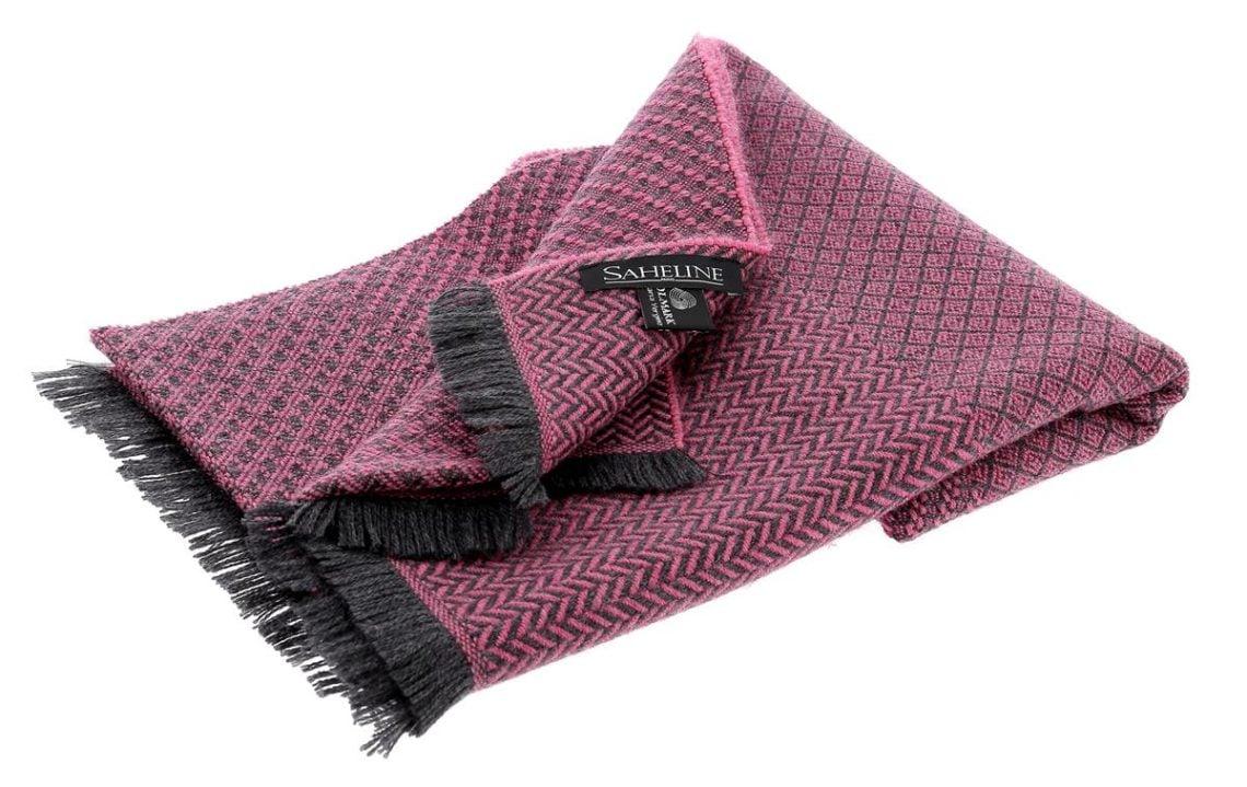 echarpe femme pure laine vierge rose