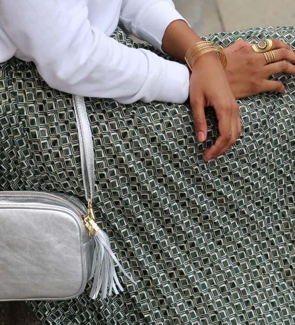 petit sac en cuir argent