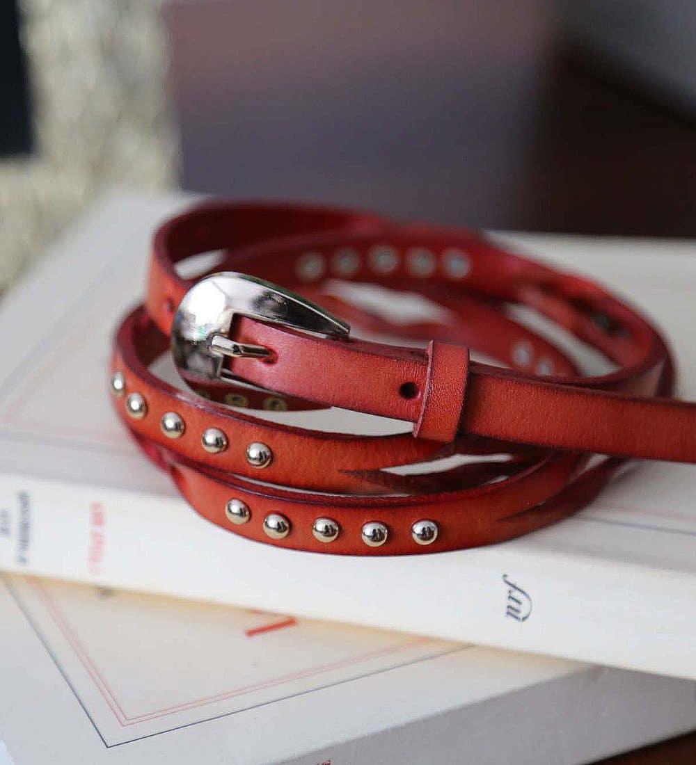 ceinture fine cuir rouge livia