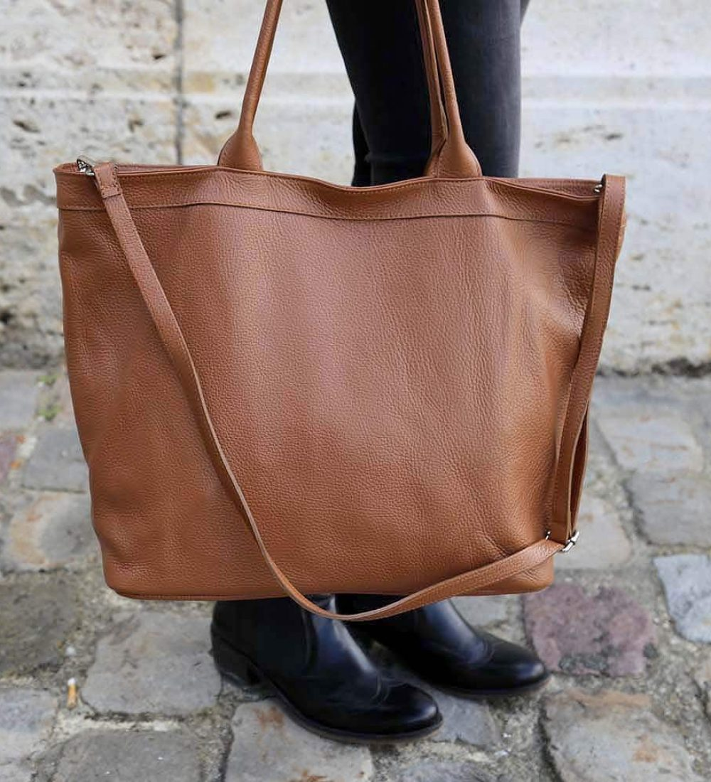 grand sac cabas cuir camel