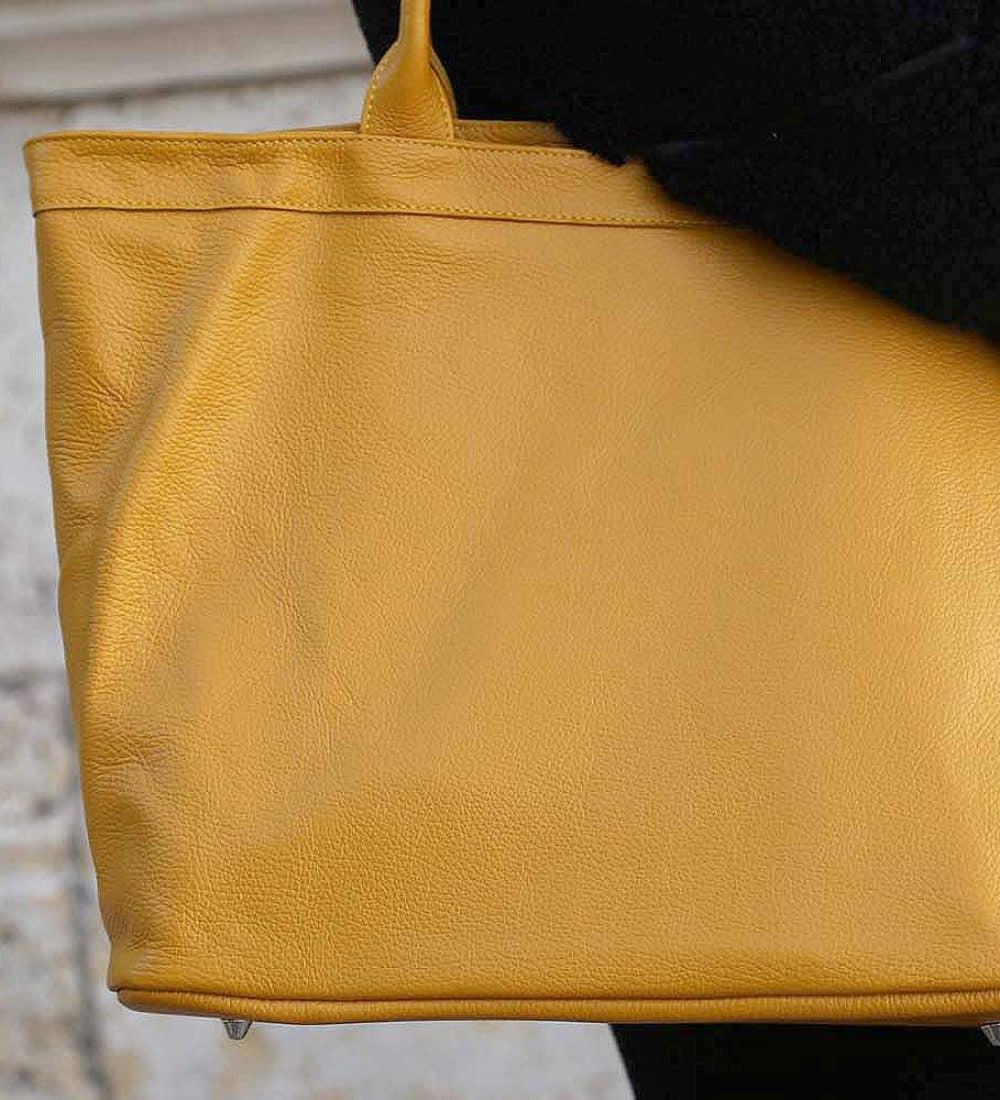 grand sac cabas cuir jaune