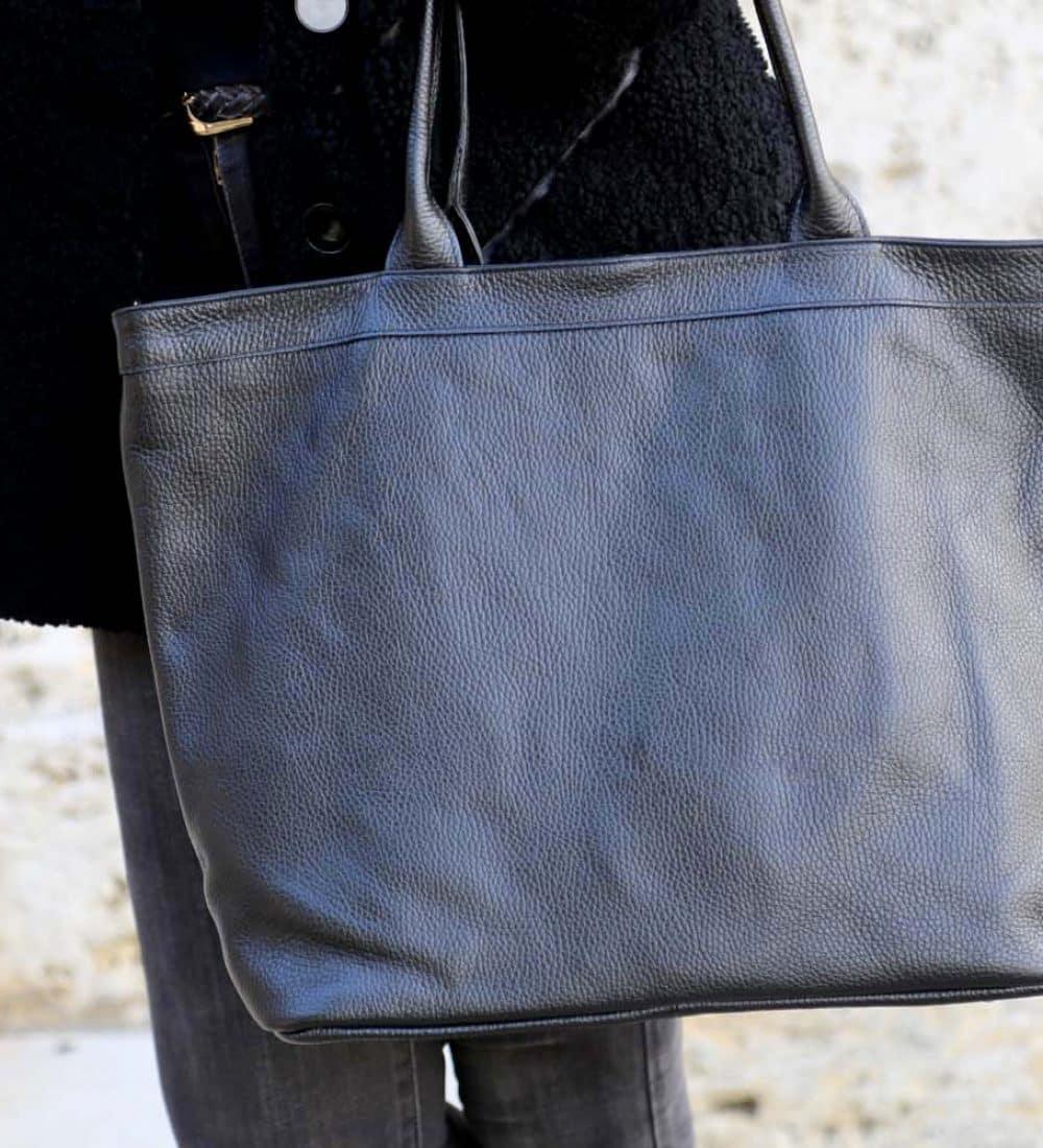 sac cabas cuir noir