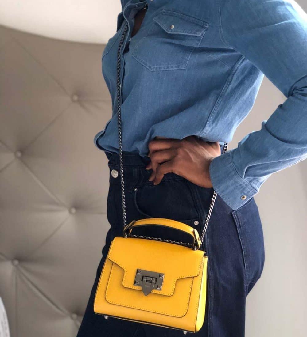 petit sac à main en cuir jaune