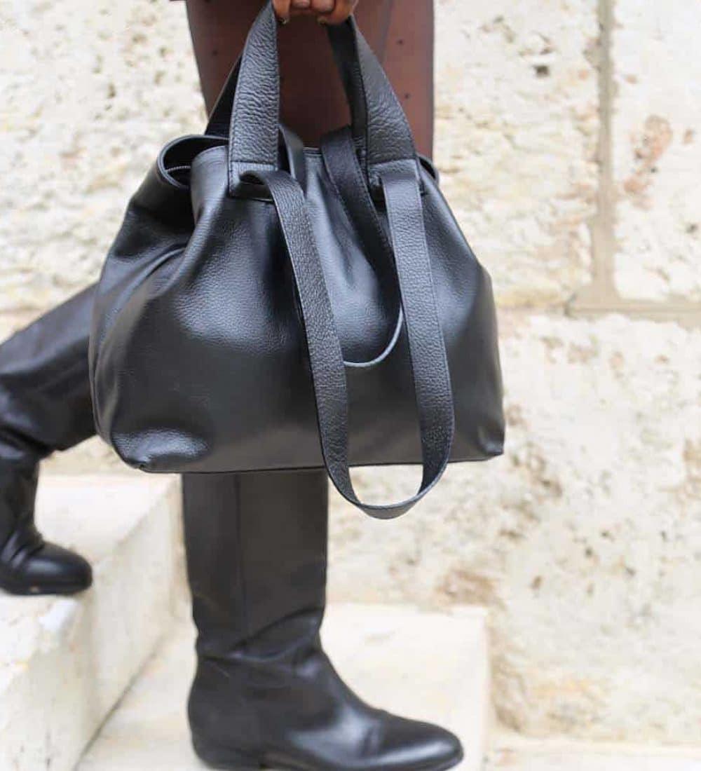 sac cabas cuir noir femme