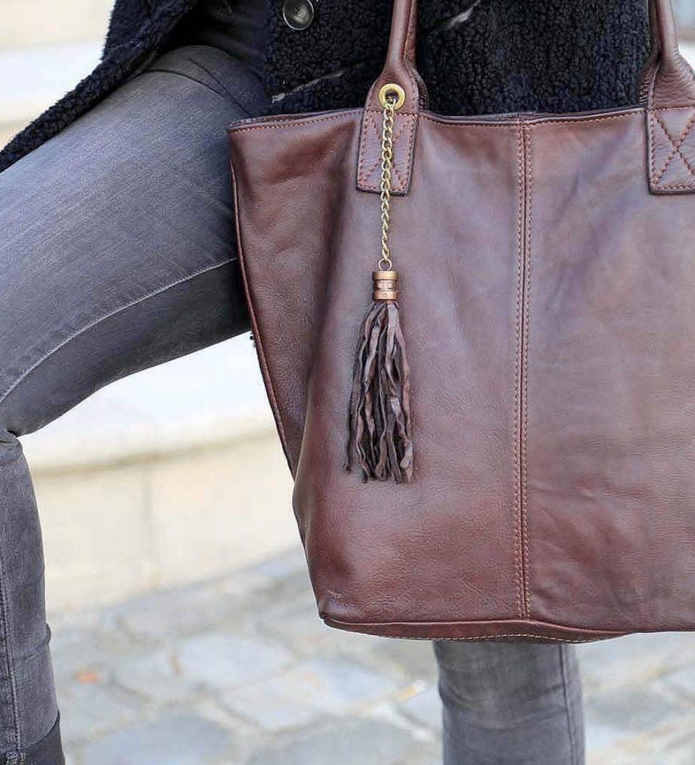 sac cabas cuir marron, cuir vieilli vintage