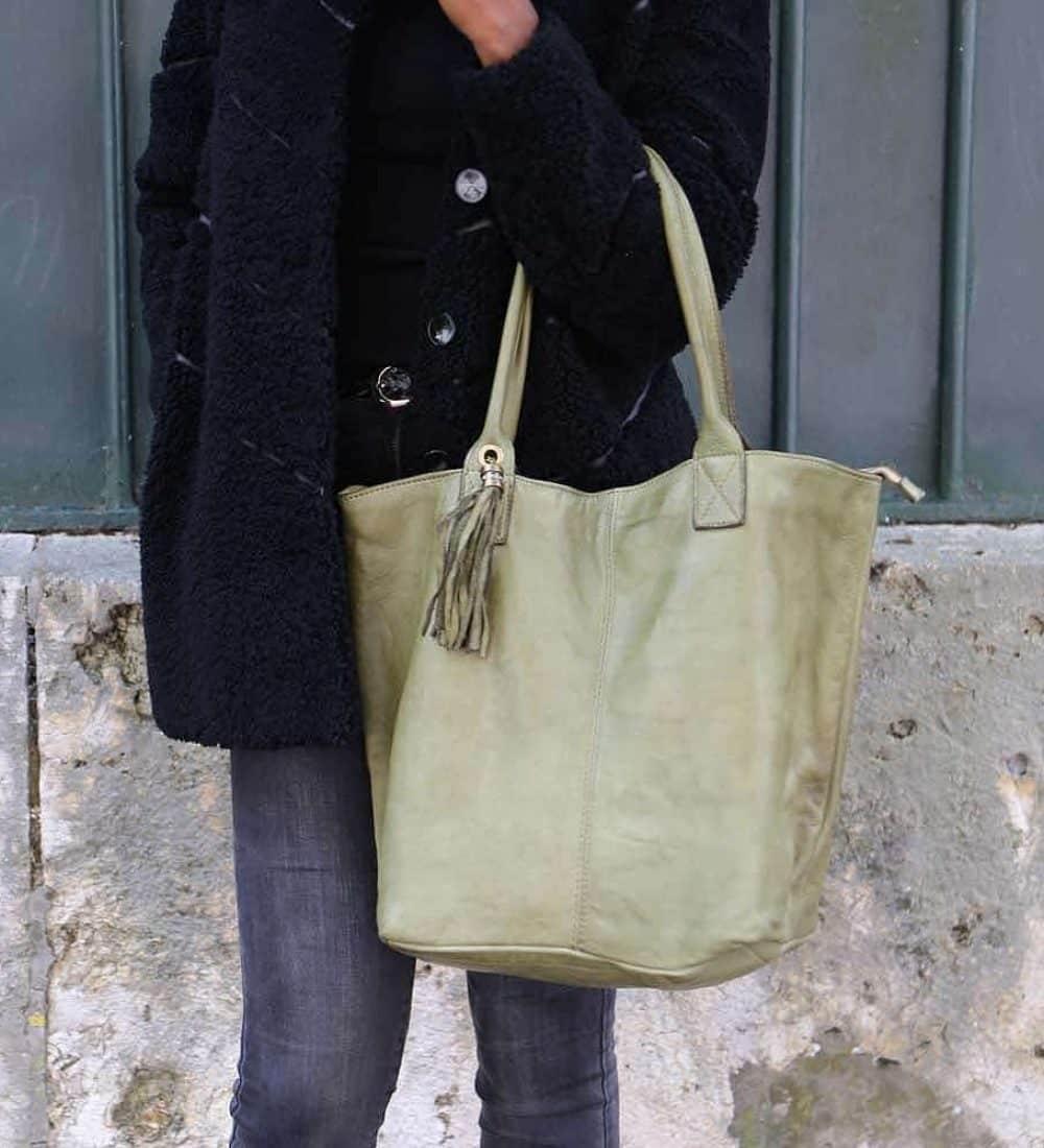 sac cabas cuir vert, cuir vieilli vintage