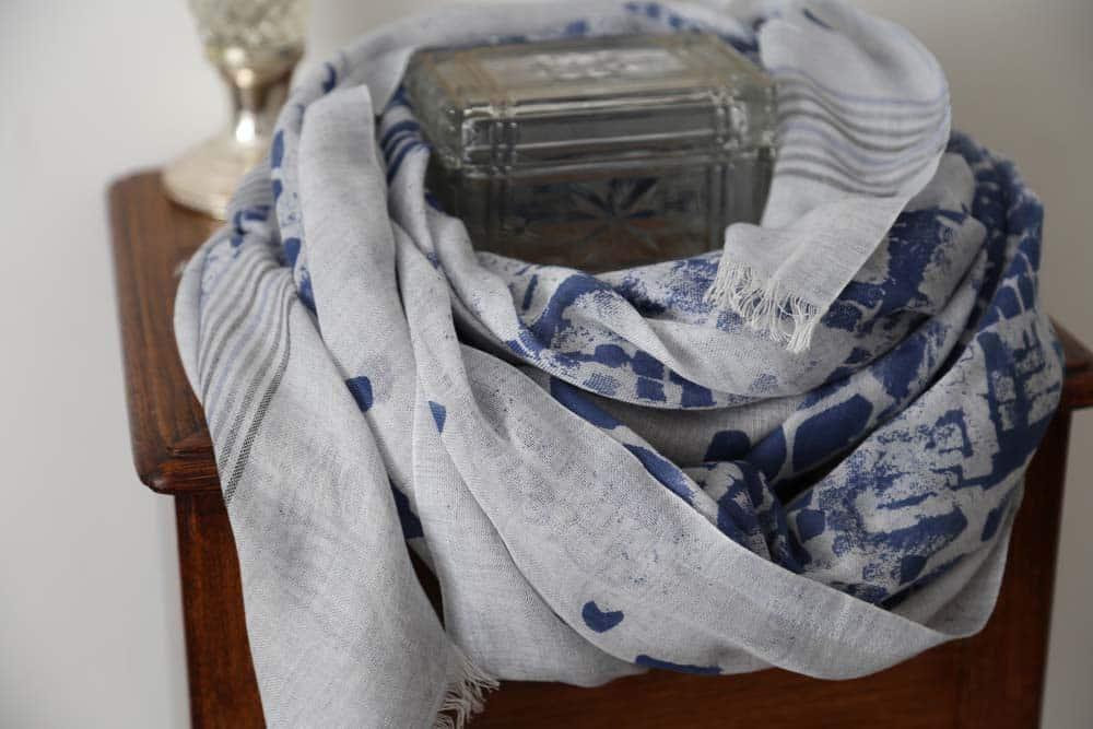 Foulard cachemire gris bleu