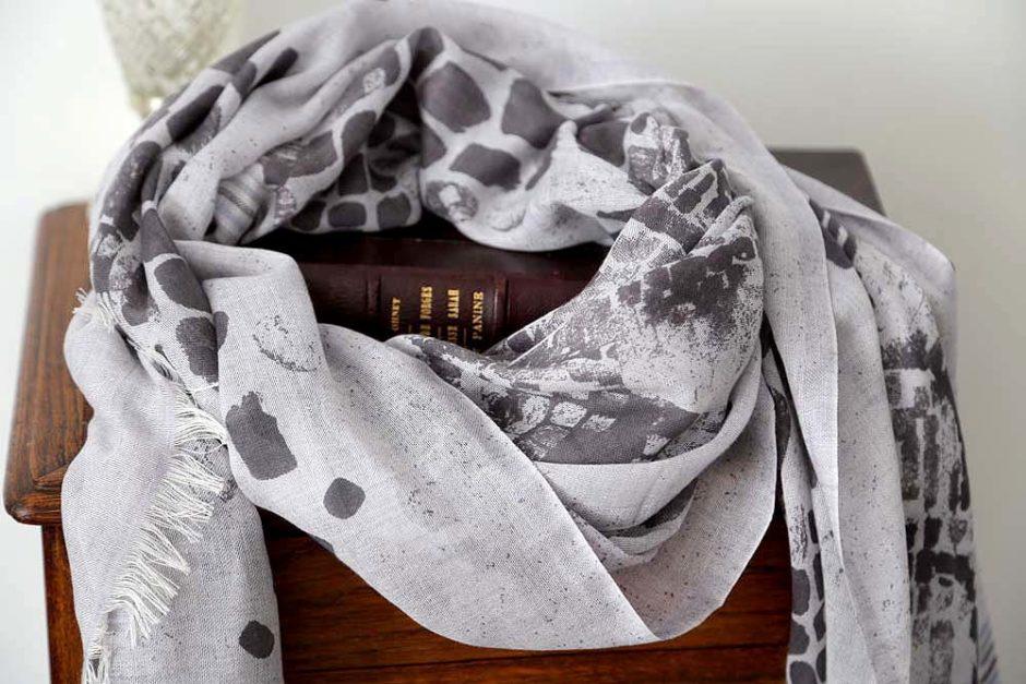 fourlard femme coton et cachemire gris PASCALINE