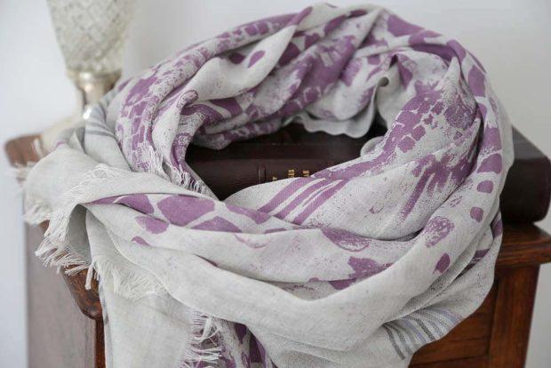foulard cachemire femme rose et violet