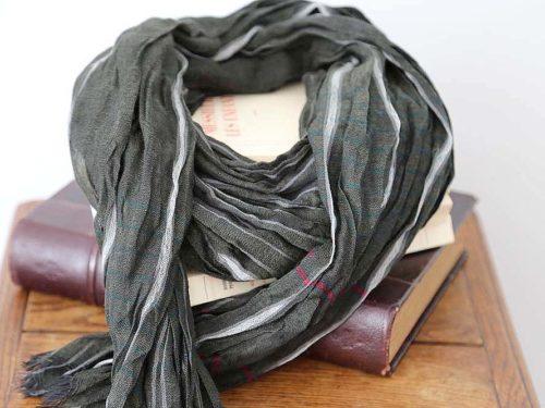 foulard-homme-rayure-VERT-gris