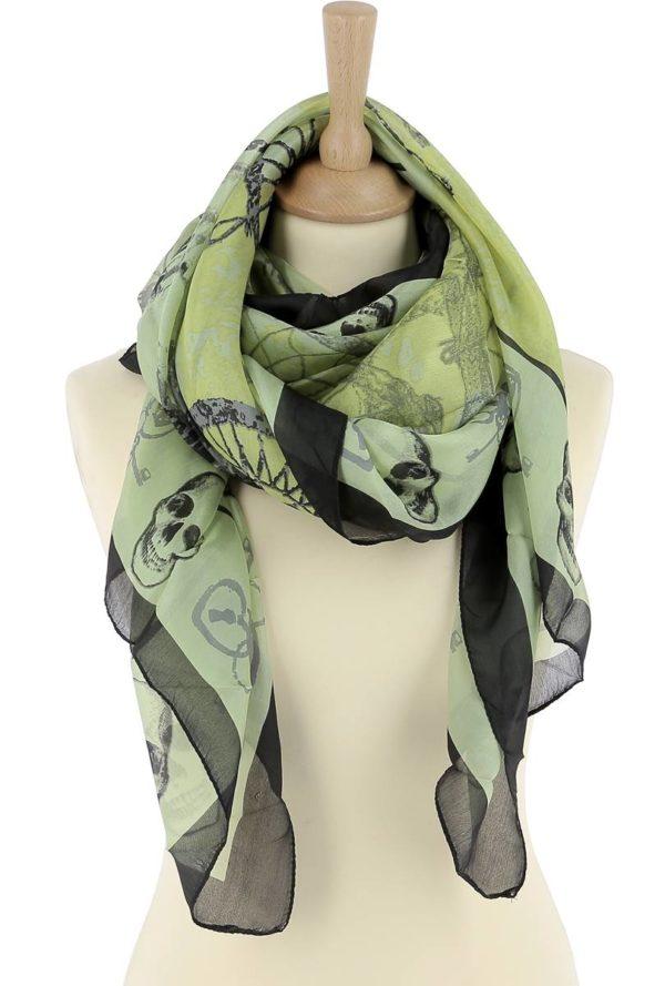 Foulard soie vert et tete de mort