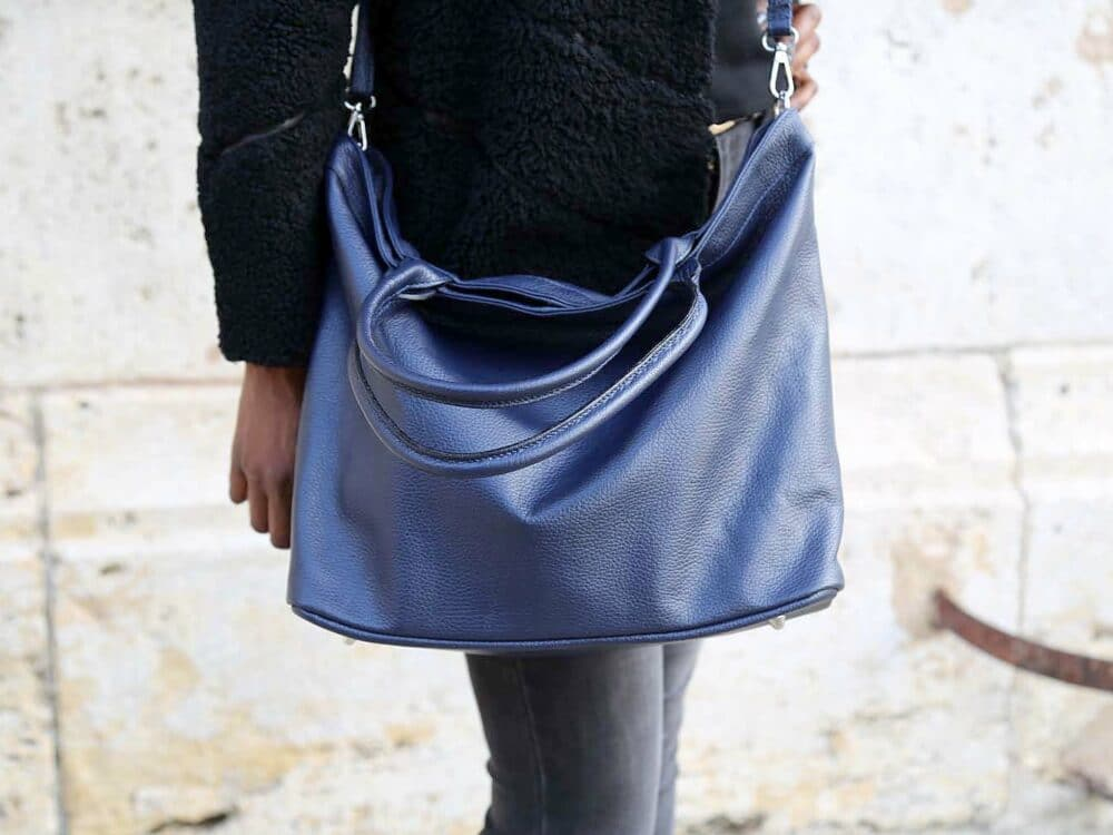 sac cabas cuir bleu