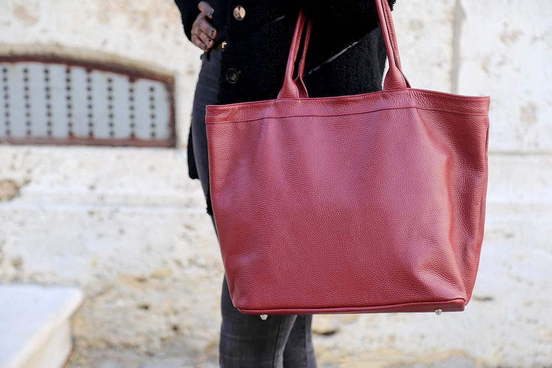 sac cabas cuir rouge