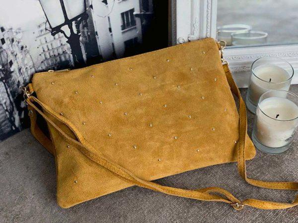 Grande pochette sac en cuir suédé jaune