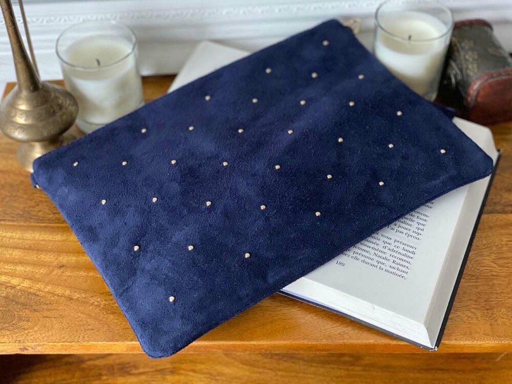 grande pochette sac en cuir suédé bleu MARCEAU