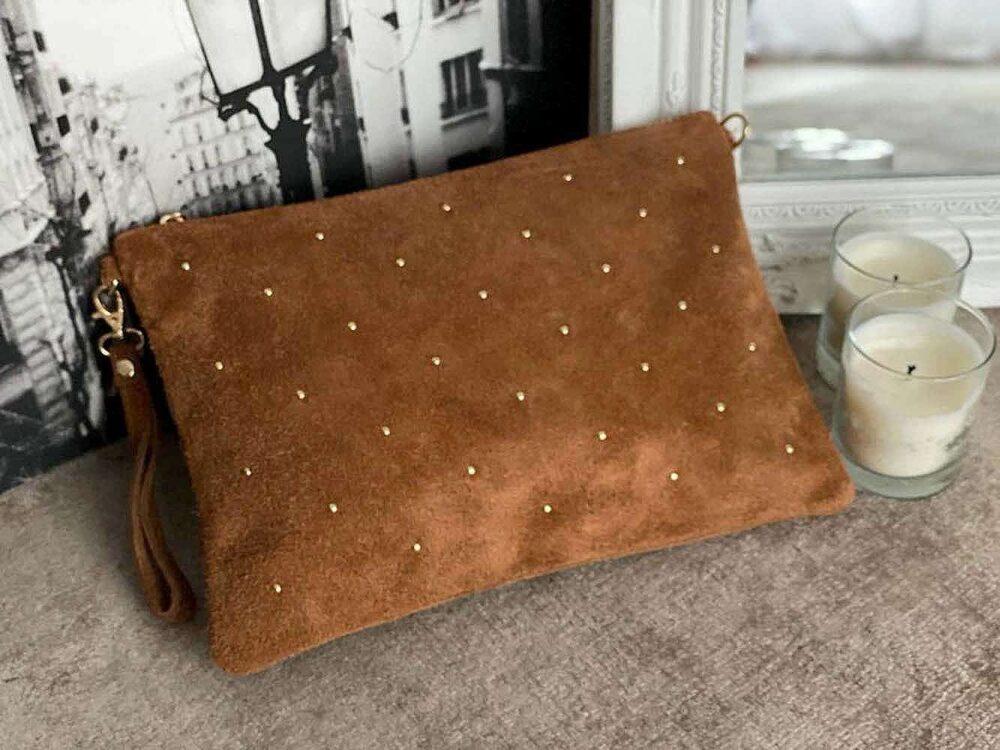 grande pochette sac en cuir suédé camel MARCEAU