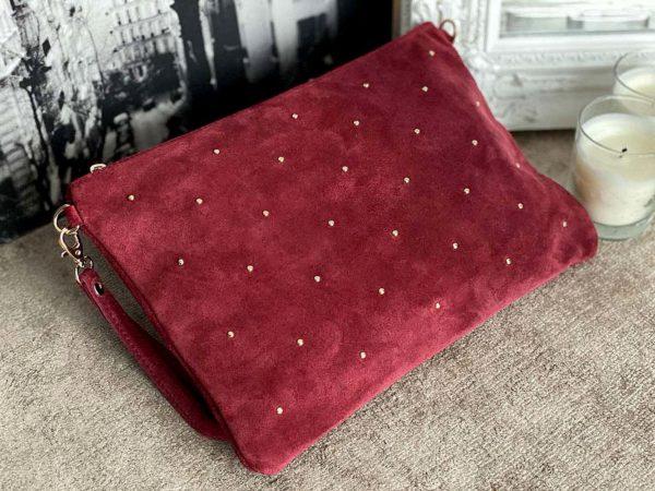 grande pochette sac en cuir suédé rouge suédé