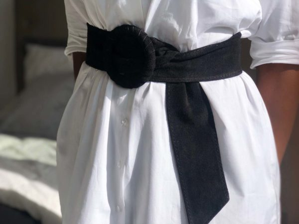 ceinture cuir daim noir