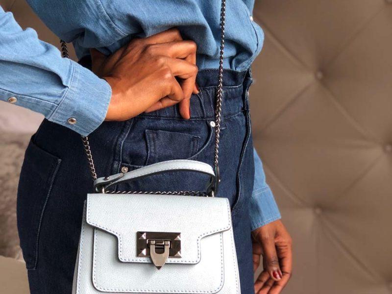 petit sac cuir bleu