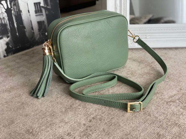 petit sac cuir vert eau avec bandouliere