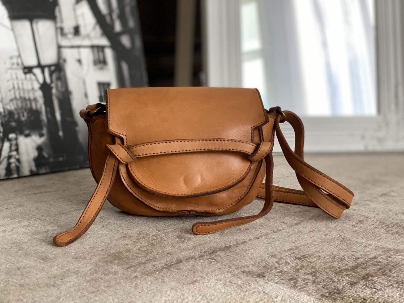 petit sac cuir vieilli camel