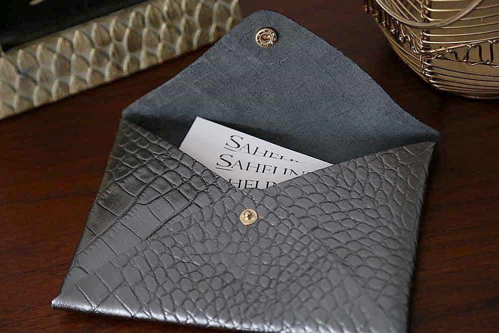 Porte-carte cuir croco noir
