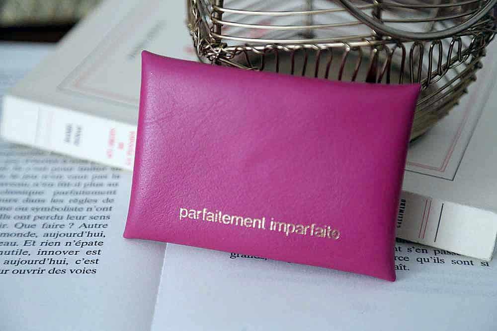 Porte-cartes cuir rose fushia