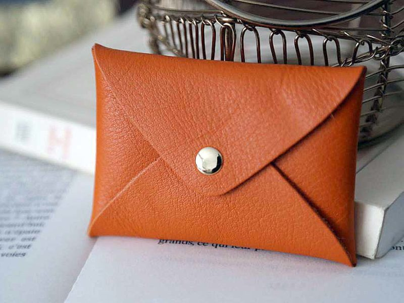 Porte-cartes cuir orange