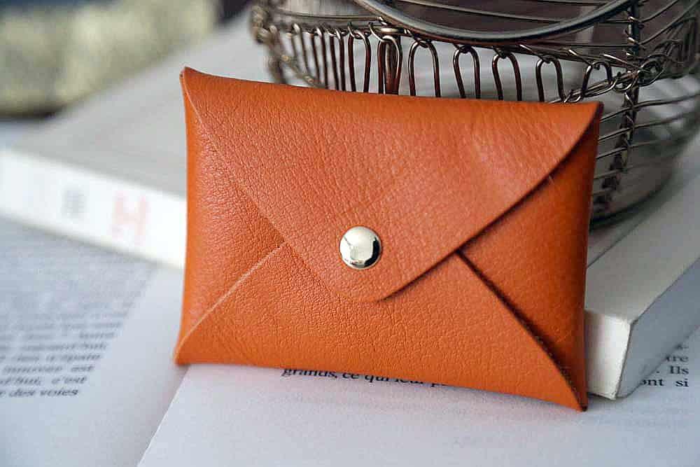 Porte-cartes cuir orange