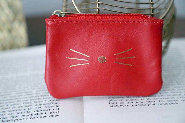 Porte-carte cuir rouge MATTEO