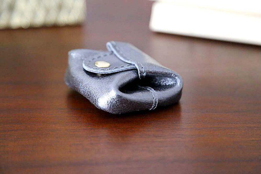 Porte monnaie cuir gris anthracite