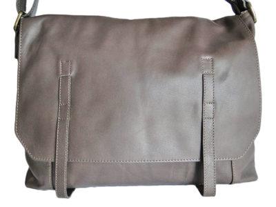 Sac besace cuir gris grège Saheline - Modèle MALONE