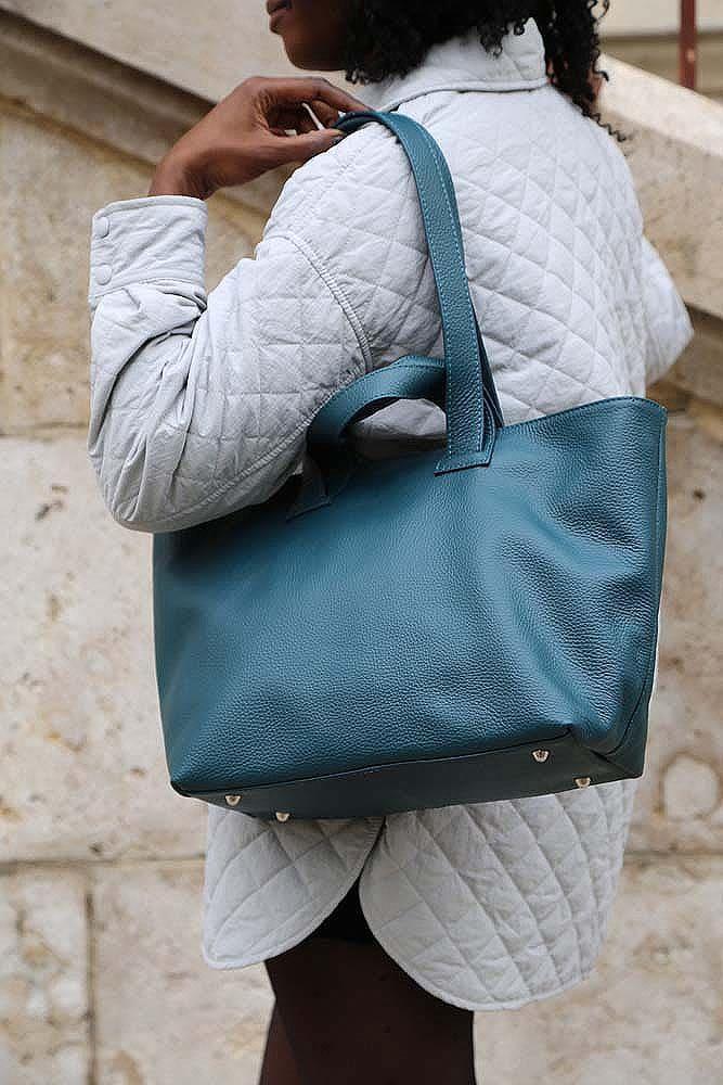 sac cabas femme bleu canard