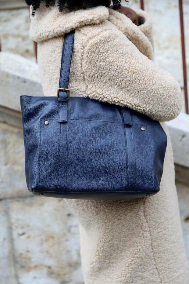 sac cuir bleu femme