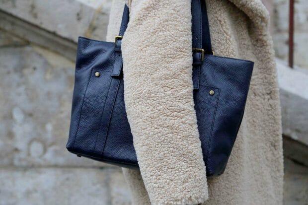 sac cabas cuir bleu femme
