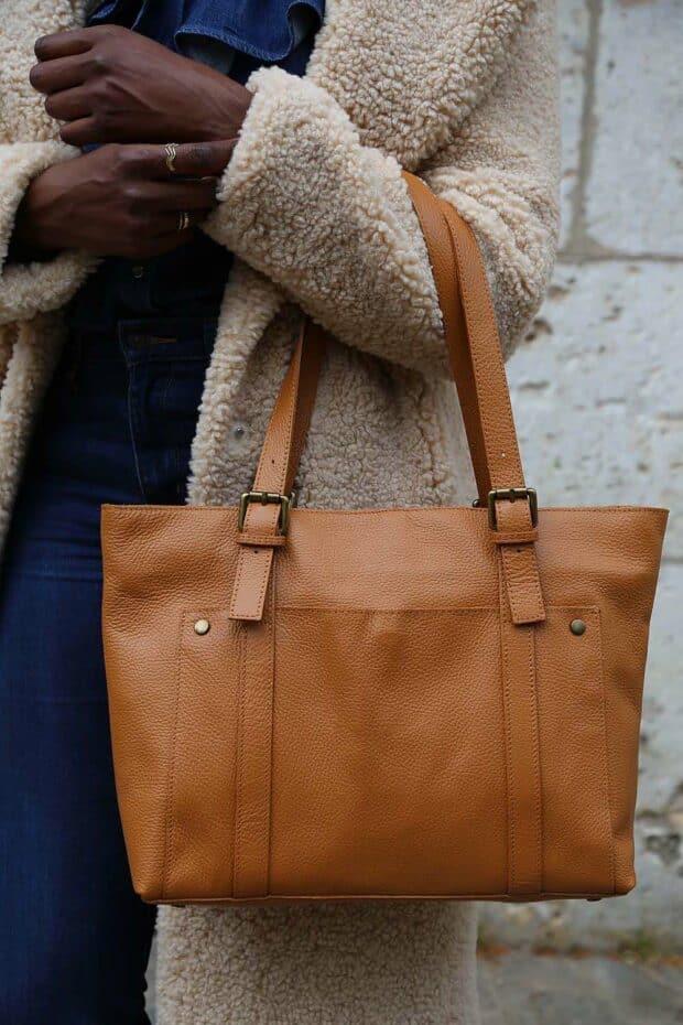 grand sac cabas cuir camel pour femme