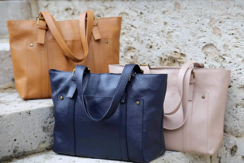 grand sac cabas cuir tessane