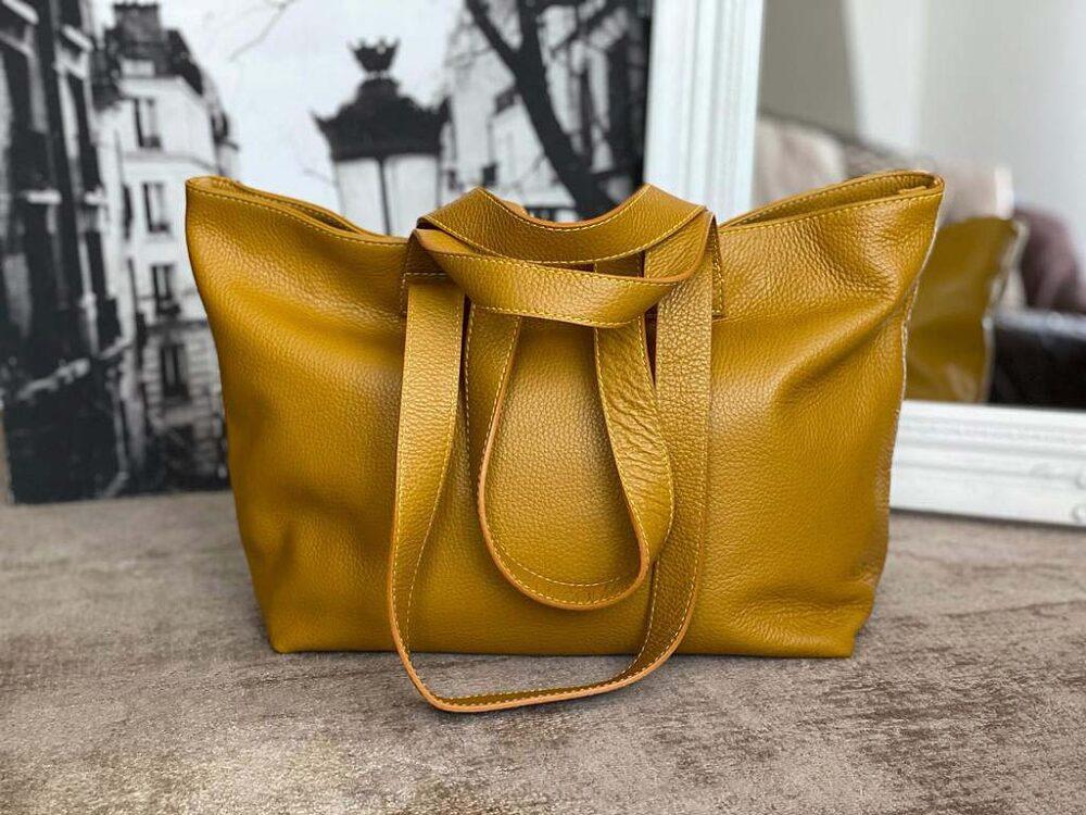 sac cuir cabas jaune modèle OPHELIE