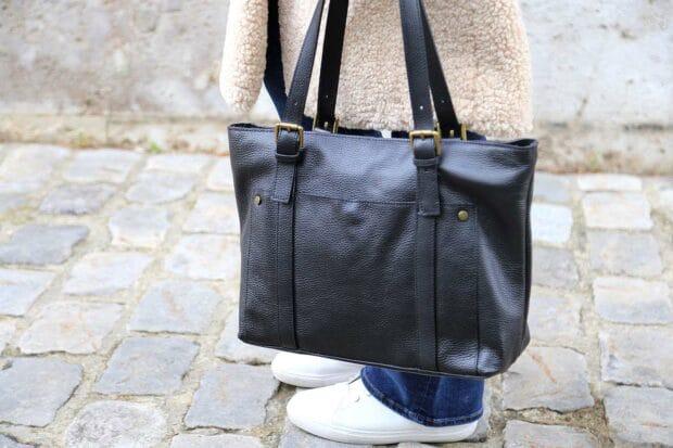 sac cabas cuir noir femme, marque SAHELINE