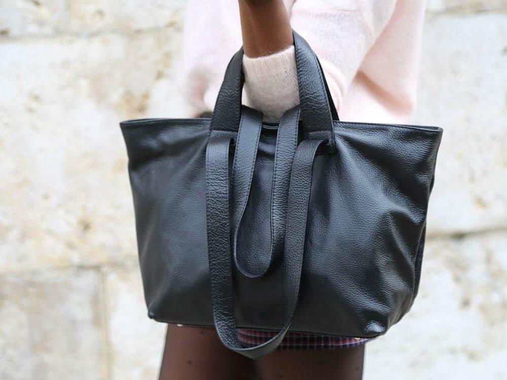 sac cabas femme en cuir noir OPHELIE