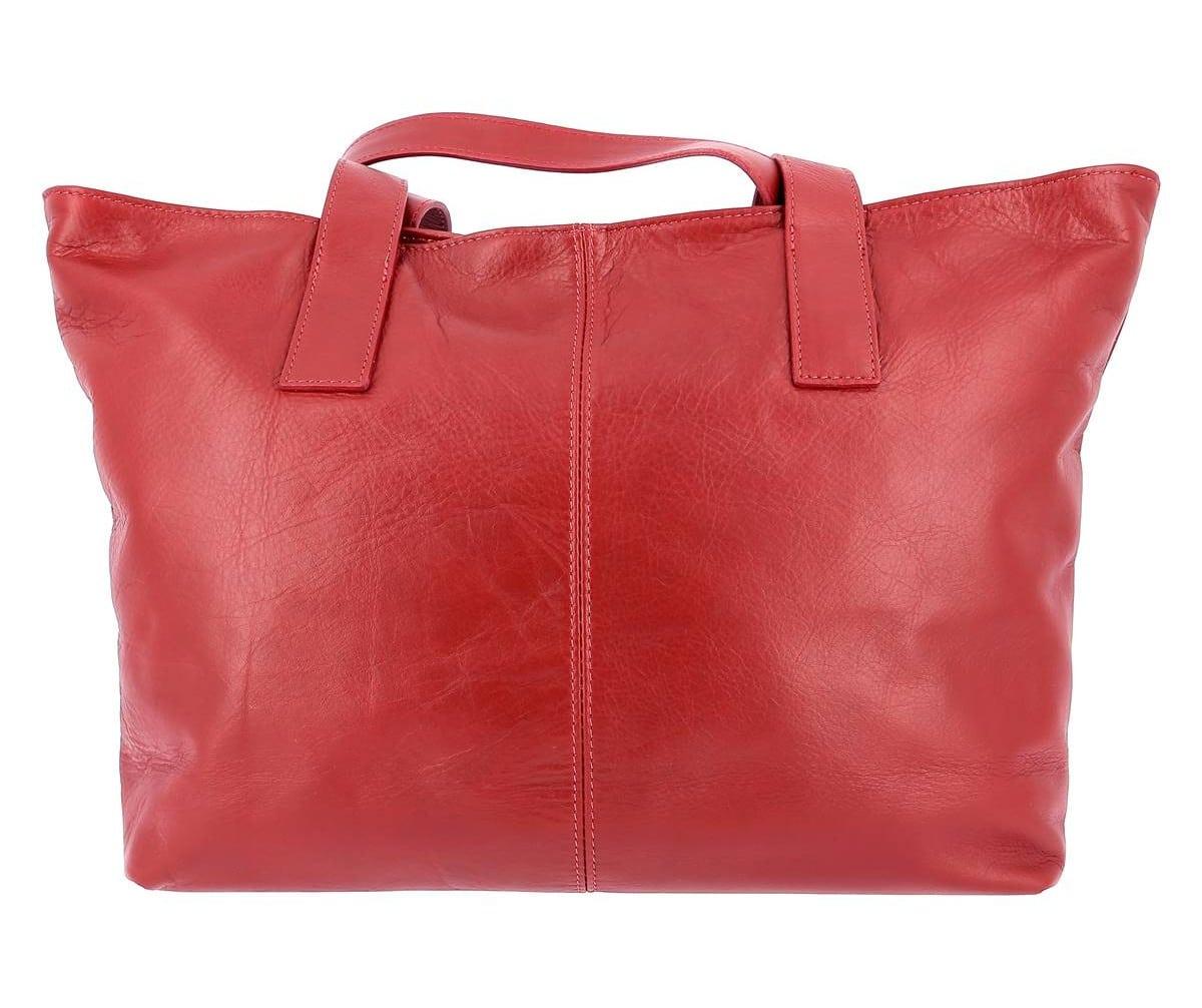 sac cuir cabas rouge NOEMIE