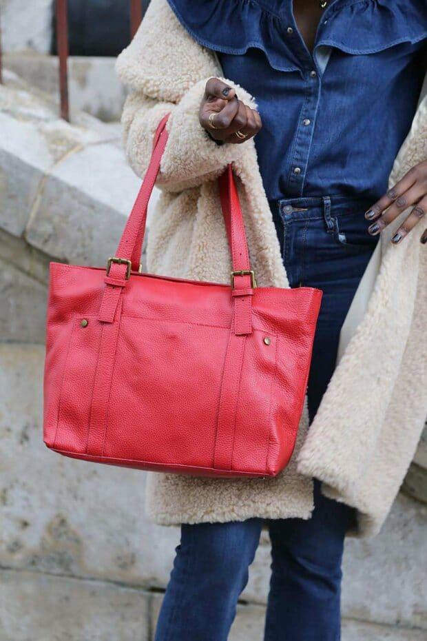 sac cabas cuir rouge femme